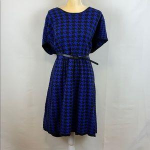 Lane Bryant Blue/Black Houndstooth Patterned Dress